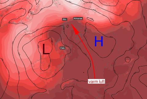 Lavtrykket over England tar med seg finværet nordover. Fra mandag skal det være over 20 grader i Finnmark.