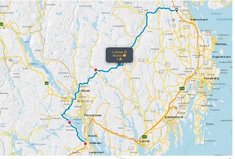 FORSINKELSER: Vegrafikksentralen anbefaler alternativ rute for dem som skal lengst nordover i fylket søndag ettermiddag. (Ill.: Vegtrafikksentralen