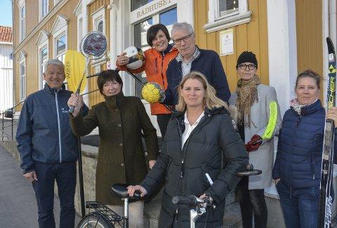 Bli med!: Jone Blikra, Inger Lysa, Tone Baumeler Isaksen, Åge Aashamar, Kathrine Fosso, Anny Skau Grøgaard og Marianne Odden oppfordrer alle til å delta på trimaksjon.