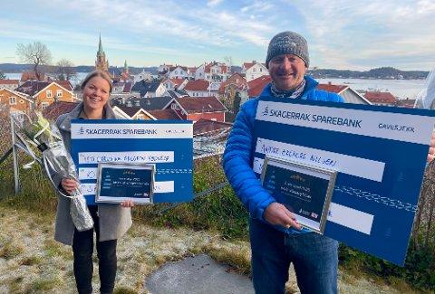 VINNERE: Ida Christine Ahlgren Hødnebø og Andre Ekeberg Nilsen er vinnere av Ildsjelprisen 2020.