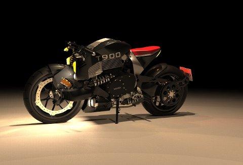 Slik vil motorsykkelen sjå ut når den er ferdig, ein vakker dag. Ein unik T900, 100% heimelaga.