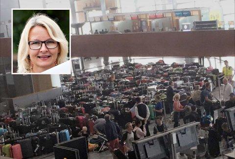 MYE BAGASJE: Det tårnet seg opp med bagasje på flyplassen og mange måtte fly uten å få med seg bagasjen.