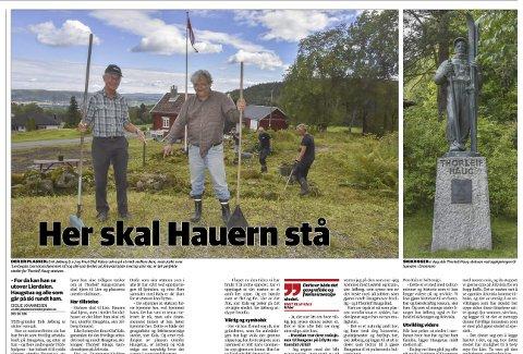 Plassen er klar: Erik Jølberg og Knut Olaf Kals etterlyste hjelp til å flytte Hauern-statuen fra Drammen til Årkvisla i Lierposten torsdag 18. august. faksimile