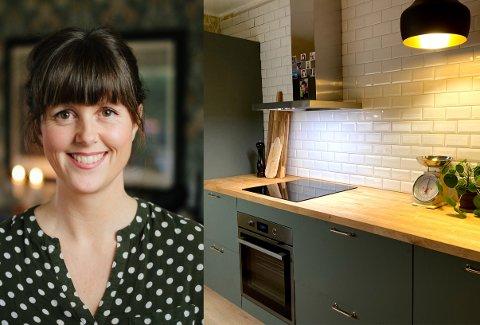 – Det er mye å spare på å gjøre ting selv, sier Marie Olaussen.  I det nye huset har hun flislagt hele kjøkkenet.