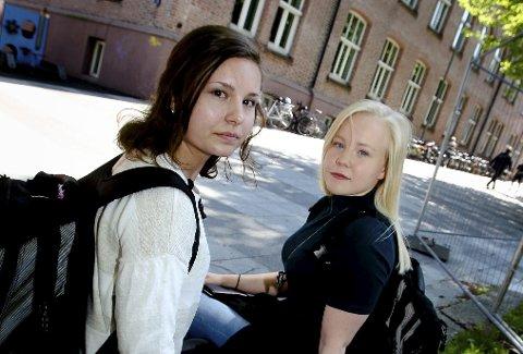 Skuffet: Yasemin Utas (til venstre) og Cecilie Lunde tok begge til tårene da de fikk vite at eksamen i treningslære ble annulert på grunn av fusk. Nå har fylkeskommunen snudd i saken.