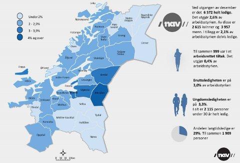 STATUS: Dette kartet viser hvordan arbeidsmarkedet i Trøndelag er per desember 2020.