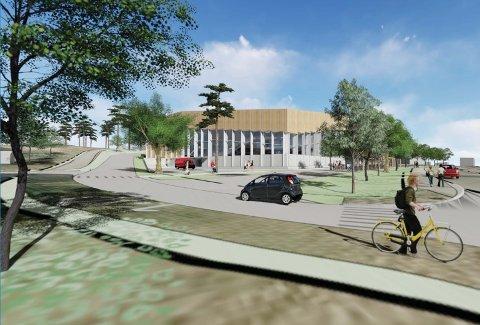 2020: Slik ser Undervisingsbygg for seg det nye badet og ny innkjøring på Manglerud, her sett fra Wetlesens vei. Illustrasjon: Asplan Viak/Undervisningsbygg