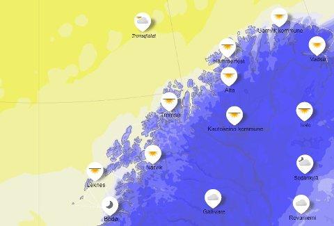 KALDERE: Helgeværet vil bli preget av høytrykket over Finland. Illustrasjon: Yr.no