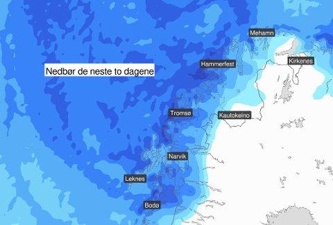 FORTSATT KALDT: Selv om det blir høyere temperaturer i Troms frem mot torsdag, vil de holde seg godt på minussiden. Det vil også komme påfyll fra oven. Illustrasjon: Yr.no
