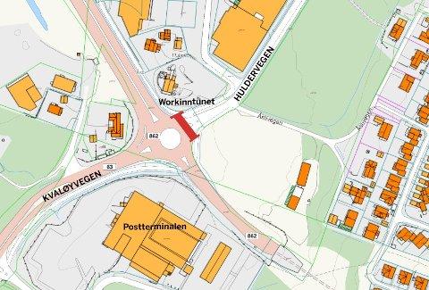 NATTESTENGT: Krysset Huldervegen-Fv 862 (markert med rødt) i rundkjøringen ved Workinntunet vil bli stengt i tre til fire netter neste uke. Illustrasjon: Tromsø kommune