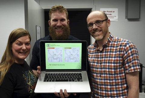 Forskere: Stipendiatene Anne Kristin Kvitle og Joschua Thomas med professor Ivar Farup viser fram t-banekartet i Oslo.