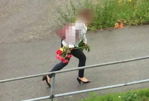 FERSK GJERNING: Her tas rosetyven på fersk gjerning mens hun rømmer. Naboene føler seg nå utrygge etter at kvinnen gjennom hele sommeren har hjemsøkt borettslaget.
