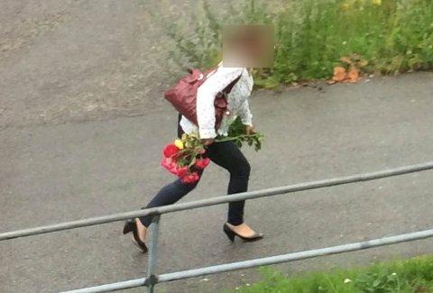 FERSK GJERNING: Her tas rosetyven på fersk gjerning mens hun rømmer fra Christoffer Knutsens gate og opp i Rosenkrantzgate. Naboene føler seg nå utrygge etter at kvinnen gjennom hele sommeren har hjemsøkt borettslaget.
