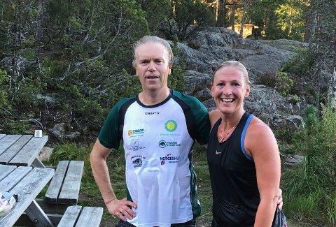 I mål: Lennart Gammelsrud og Anne Marit Berg Kirkeng har løpt 100 runder rundt Kløsa i den interne konkurransen til Østbygda IL. Alle foto: Privat
