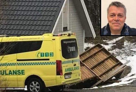 Dramatisk: Slik så det ut hjemme hos Jørn Govasli i Leirfjord etter den dramatiske hendelsen på søndag.