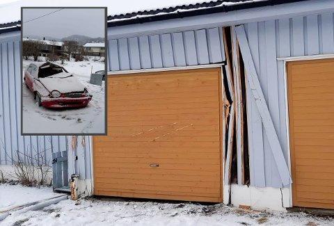 Bilen har trolig hatt høy fart før den traff husveggen på Mjølan.