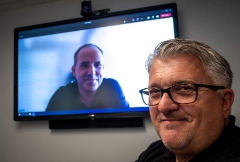 Remi André Wågan (på skjermen) blir administrerende direktør i Haaland AS, og letter med det arbeidstrykket til konsernsjef Espen Haaland.
