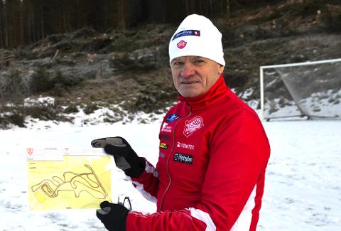 SKISTADION: Rett bak kartet som Tore Gullen holde i hånda skal start- og målområdet være på Myrskogen skistadion.