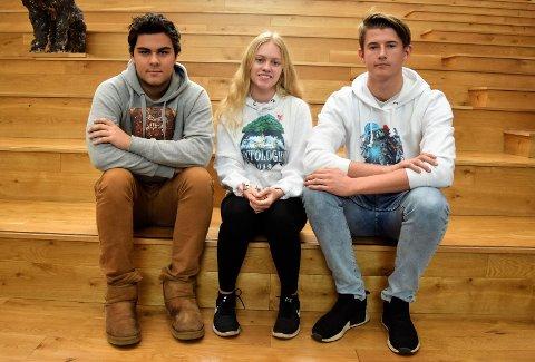 TRE AV MANGE: Sebastian Paulsen (18), Hanne Holmstrøm (18) og russepresident på Hønefoss Videregående skole, Christian Preston (18) er tre av mange lokale russ som har samlet inn penger til Kreftforeningen.