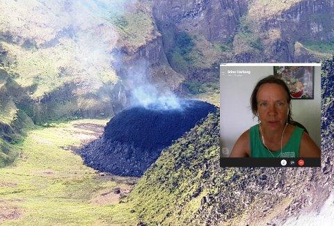 EVAKUERER HELE SKOLEN: Stina Herberg, opprinnelig fra Rjukan, nå nå flykte fra skolen hun har bygd opp på St. Vincent på grunn av utbrudd fra vulkanen El Soufriere.