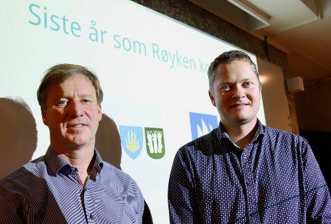 BALANSE: De legger fram det siste budsjettet for Røyken kommune, rådmann Per Morstad (t.v.) og kommunalsjef for økonomi, Eivind Lien.