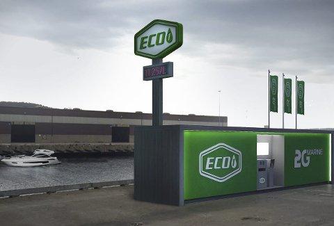 Slik kan det bli: Stasjon for fornybar diesel inntegnet på Tofte i Hurum, som blir Norges andre noen uker etter starten i Sandefjord. Illustrasjon: Eco-1 Bioenergi AS