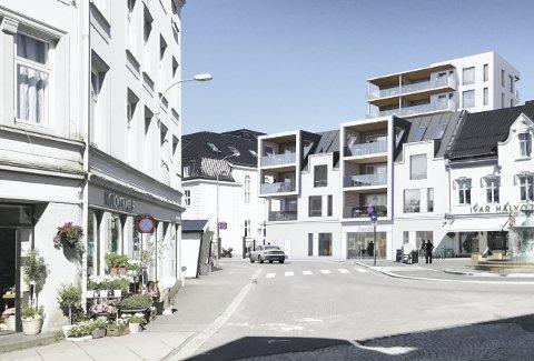 Hvidts Plass: Chr. Hvidts plass er fortsatt én av Sandefjords fineste byrom og fortjener ikke en slik åtte etasjes bygning som nabo. Illustrasjon: Spir arkitekter