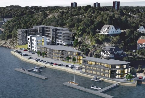 STUB: Sjøfronten i Leif Weldings vei på Stub vil gjennomfå store forandringer i framtida. (Illustrasjon: Spir Arkitekter)