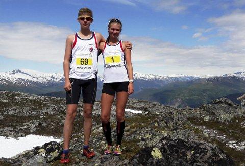 Emil Kullerud og Frida Kullerud gjorde sterke prestasjoner under NM i motbakkeløp som ble avviklet i Luster kommune i Sogn og Fjordane. Foto: Privat