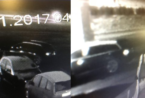 Politiet håper på tips fra publikum om denne svarte Audi, trolig A4 stasjonsvogn, som befant seg utenfor verkstedet samme natt som en Mercedes ble stjålet.