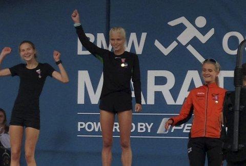 Helt suveren: Julie Larsen løp fra alt og var helt suveren under NM halvmaraton for U23 løpere i Oslo lørdag.  Foto: Privat