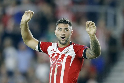Southampton's Charlie Austin reacts during the Europa League group K soccer match between Southampton and Sparta Prague at St Mary's stadium in Southampton, England, Thursday, Sept. 15, 2016 . (AP Photo/Frank Augstein)
