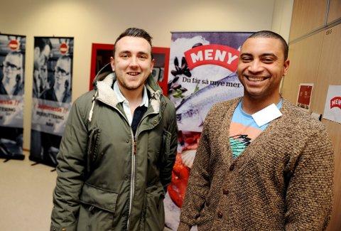KJEMPER OM JOBBENE: Eirik Ruud (til venstre) fra Porsgrunn og Bruno Santos fra Skien er veldig glade for at de var blant de 50 søkerne, som denne uken ble innkalt til intervju til jobbene som butikkmedarbeider hos Meny. Begge følte at oppgavene, presentasjonen og intervjuet gikk bra.