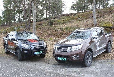 Ulike japanere: Isuzu D-Max (t.v.) oppleves mer som en tradisjonell pickup kontra Nissan Navara i ny utgave. Alle foto: Knut Jørgen Solheim Heum