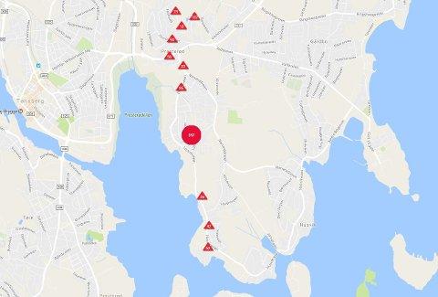 STRØMBRUDD: Dette området er uten strøm.