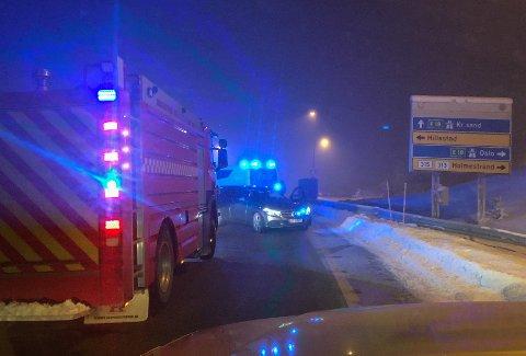 FØR KRYSSET: Ulykken har skjedd på Hvittingfossveien, i retning Islandkrysset, like før rundkjøringen.