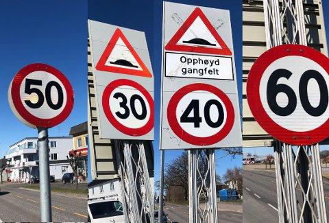 SKILTJUNGEL! Ikke helt lett å holde kontroll på fartsgrensen langs riksvei 309... Nå innrømmer veivesenet at det kan bli i meste laget.