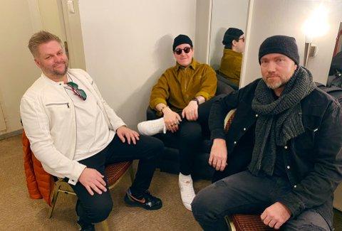 SJU SHOW: På litt over én uke har Bjørn Morgan Johansen (fra venstre), Ulug Mehmet og Remi Kristiansen i Phat Lab Music holdt sju show i Tønsberg.