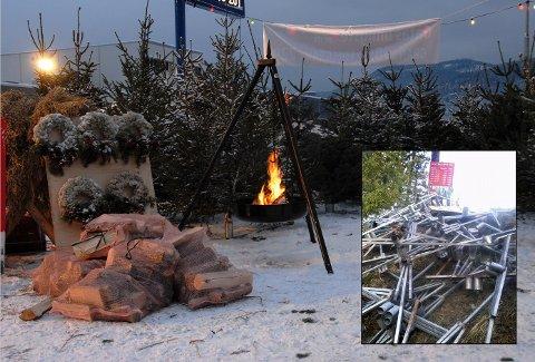 JULETRESALG: Tjuvgodset som ble funnet i Vestringsbygda er utstyr som benyttes til juletresalg. På hovedbildet ser man i bakgrunnen stativer som holder juletrærne oppe, lik de som ble stjålet (innfelt). Hovedfoto: Rune Østgård. Innfelt: Gunnar Andersen.