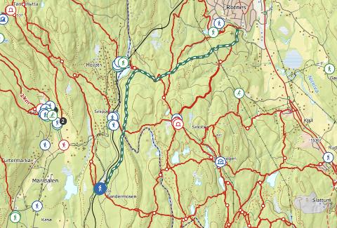 SØNDAGSTUREN: Kartet viser traseen for den første av to vandringer på historiske veier i høst.