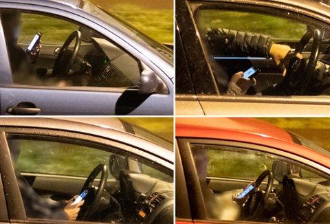 SYNLIG: 25 av 200 bilister som RB observerte tirsdag, hadde mobilen synlig framme da de kjørte.