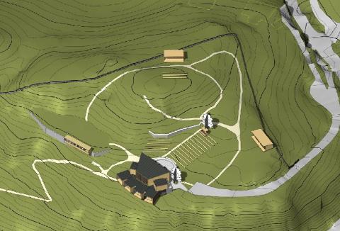 SKISSE: EN første skisse viser litt hvordan Fjellparken kan utvikles med toalettbygg, utvidelse av scenen og eventuelt permanente salgsbygg