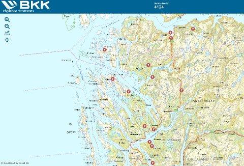 Fleire tusen abonnentar måtte starte det nye året utan straum. Merkene på kartet viser der BKK har straumstans og driv med feilretting. Kart: Skjermdump BKK