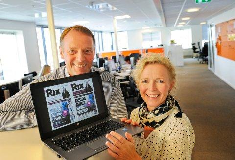 Sjefredaktør Jan-Eirik Hanssen og opplagssjef Mari Karin Helset under lanseringen av eavisen Rix. Nå er leseropplevelsen forbedret.