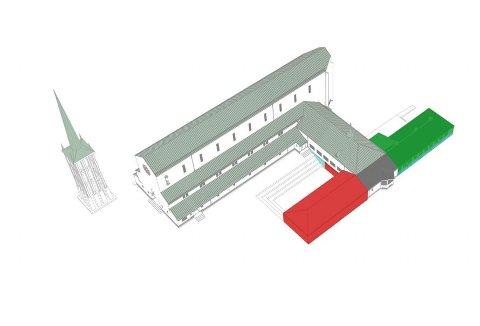 Bodø domkirke kan bli utvidet mot Prinsens gate.