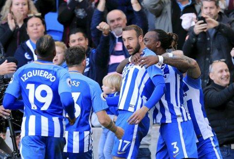 Brighton og Glenn Murray har fått en grei start på sesongen. Foto: Gareth Fuller (Pa Photos)  (Gareth Fuller/PA via AP)