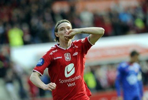 Birkir Már Sævarsson scoret 18 mål i Brann-drakten. Her feirer han et av dem.