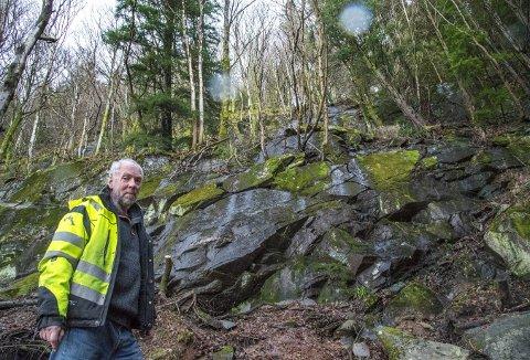 – Hele Fjellsiden bærer preg av å være utsatt, når nedbøren tar overhånd, sier daglig leder i Bergens Skog- og Træplantningsselskap, Jørgen Frønsdal. (Foto: EIRIK HAGESÆTER)