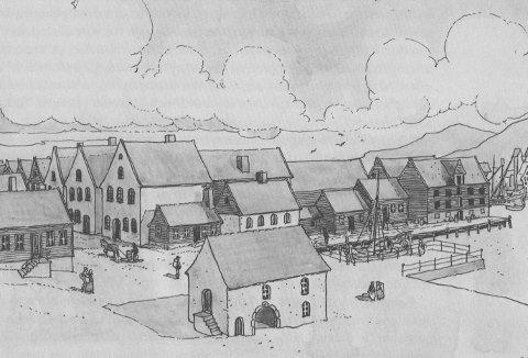 Jørgen Thormøhlens gård på Strandsiden, rekonstruert i A. B. Fossens bok. Mesteparten av bebyggelsen på bildet eies av ham. Ikke det på oppsiden av Strandgaten og det utenfor de tre murbygningene på rad. Det eneste som står igjen i dag, er Muren ved inngangen til det vi i dag kaller Gågaten.