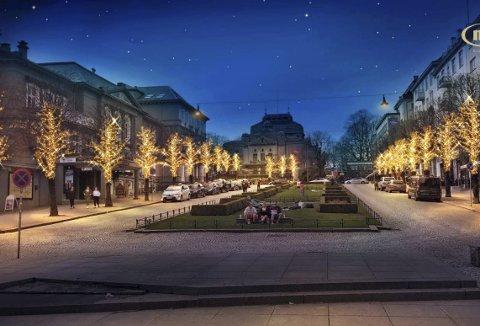 Øvre Ole Bulls plass lyssettes, og slik vil det se ut etter lørdag 24. november. (Illustrasjon: MK Illumination)